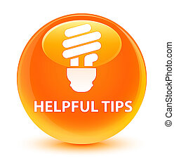 Helpful tips (bulb icon) glassy orange round button