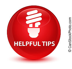 Helpful tips (bulb icon) glassy red round button