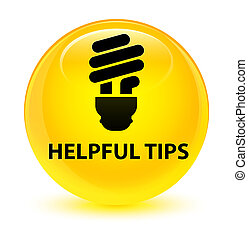 Helpful tips (bulb icon) glassy yellow round button