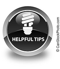 Helpful tips (bulb icon) glossy black round button