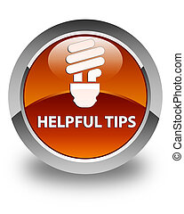 Helpful tips (bulb icon) glossy brown round button