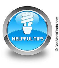 Helpful tips (bulb icon) glossy cyan blue round button