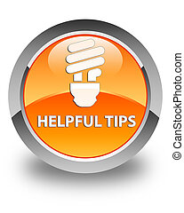 Helpful tips (bulb icon) glossy orange round button