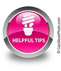 Helpful tips (bulb icon) glossy pink round button