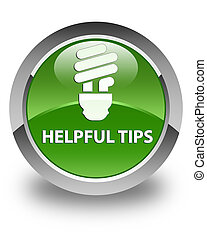 Helpful tips (bulb icon) glossy soft green round button