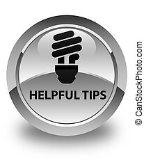 Helpful tips (bulb icon) glossy white round button