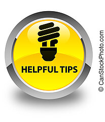 Helpful tips (bulb icon) glossy yellow round button