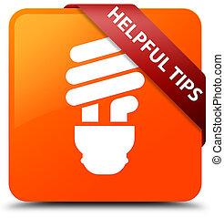 Helpful tips (bulb icon) orange square button red ribbon in corner