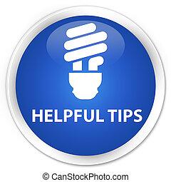 Helpful tips (bulb icon) premium blue round button