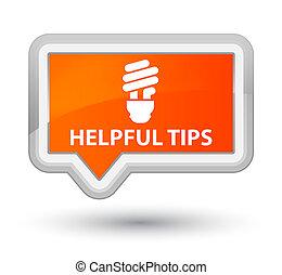 Helpful tips (bulb icon) prime orange banner button
