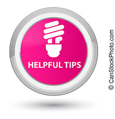 Helpful tips (bulb icon) prime pink round button