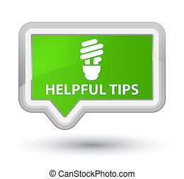 Helpful tips (bulb icon) prime soft green banner button
