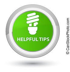 Helpful tips (bulb icon) prime soft green round button