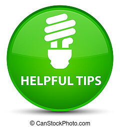 Helpful tips (bulb icon) special green round button