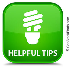 Helpful tips (bulb icon) special green square button
