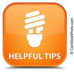 Helpful tips (bulb icon) special orange square button