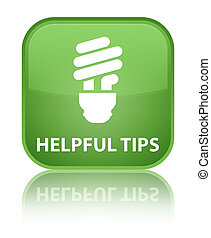 Helpful tips (bulb icon) special soft green square button