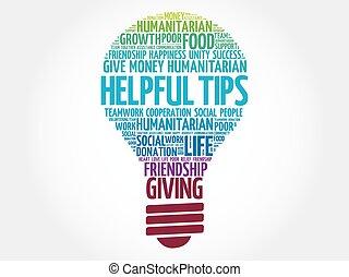 Helpful Tips bulb word cloud