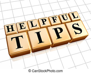 helpful tips in golden cubes - 3d golden cubes with text...