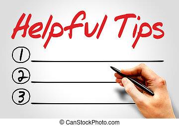 Helpful tips blank list concept