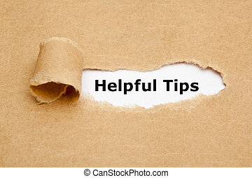 Helpful Tips Torn Paper - The text Helpful Tips appearing...