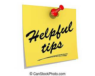 Helpful Tips White Background - A note pinned to a white...