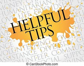 Helpful tips word cloud