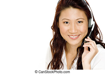 Helpful Woman - A beautiful young asian woman wearing a...