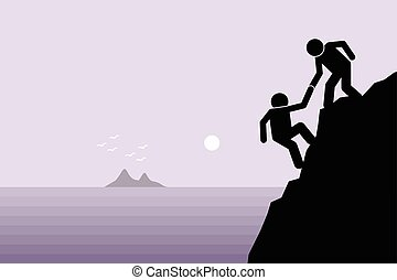 Helping a friend - Hiker helping a friend climbing up on a ...