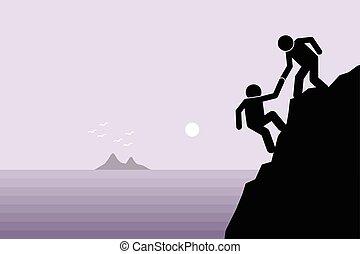 Helping a friend - Hiker helping a friend climbing up on a...
