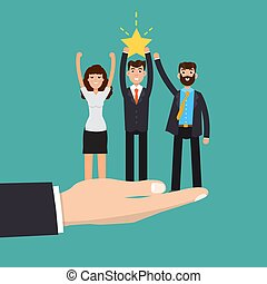 Helping Business. Successful team. Teamwork. Investment concept. Vector illustration.