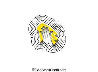 Helping Center symbol with Abstract flat colorful line pattern vector illustration.