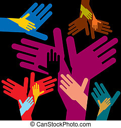 helping colorful hands with black background