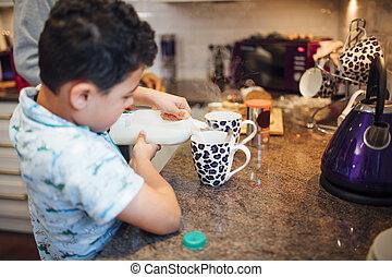 Helping Dad Make Tea