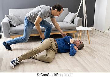 Helping Elder Senior Fallen Man After Fall