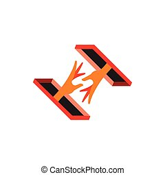 helping hand 3d design symbol decoration vector