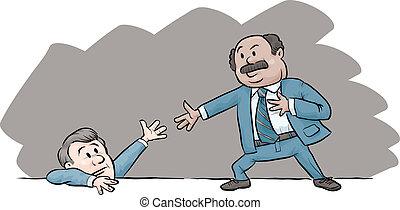 Helping Hand - A cartoon businessman offers another man a...