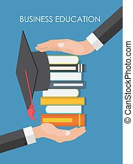 Helping Hand. Business Education Concept. Trends and innovation