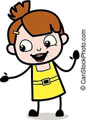 Helping Hand - Cute Girl Cartoon Character Vector Illustration