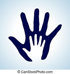 Helping hand. - Hand in hand illustration rendering idea of...