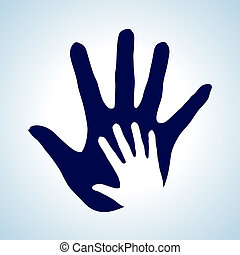 Helping hand. - Hand in hand illustration in white and blue...
