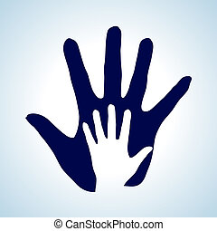 Helping hand. - Hand in hand illustration in white and blue ...