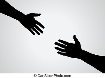 helping hand - Illustration of a hand reaching out for...