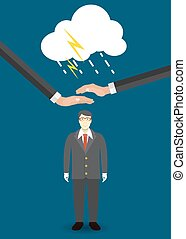 Helping Hand in Personal development. Success. Personal and career growth. Business idea. Cloud connection technology. Flat Concept Vector Illustration.