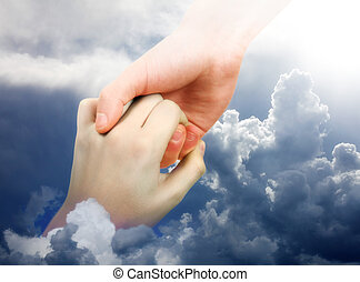 Hand is reaching out for the Help from another Hand in the Clouds
