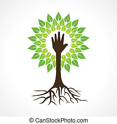 Helping hand make tree - vector illustration