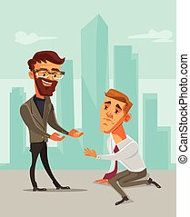 Helping hand. Office business people characters. Vector flat cartoon illustration