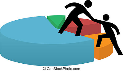 Helping hand to pie chart business financial success -...