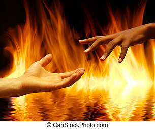 fire - helping hand with the fire  background