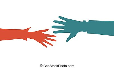 Helping Hands concept. Two Colorful Hands outstretched to each other. Flat style. Vector illustration